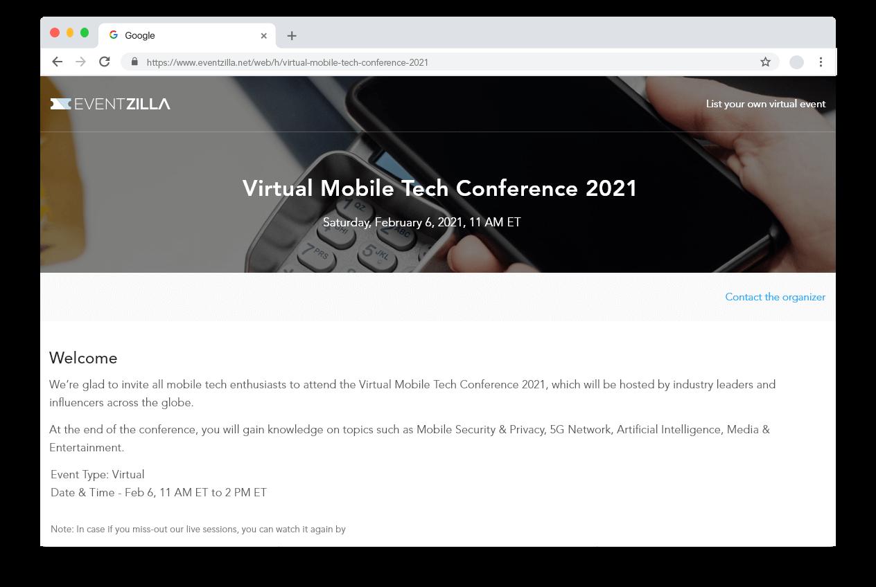 Virtual event hub page